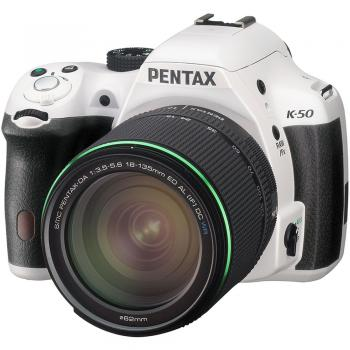 Pentax K-50 DSLR Camera with DA 18-135mm f/3.5-5.6 ED AL DC WR Lens (White)